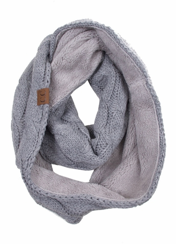 Light Melange Grey Fleece Lined Cable Knit CC Infinity Scarf