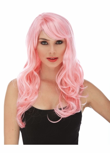 Light Pink Long Curly Burlesque Wig