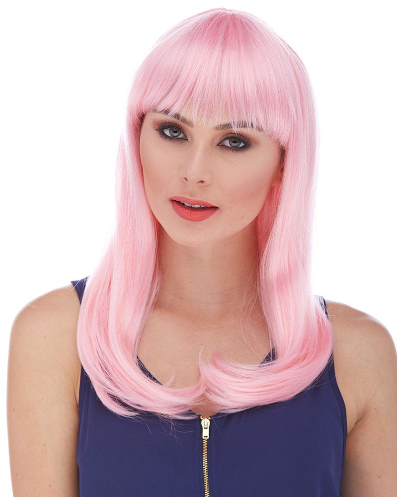 Long Pink Wig Real Hair