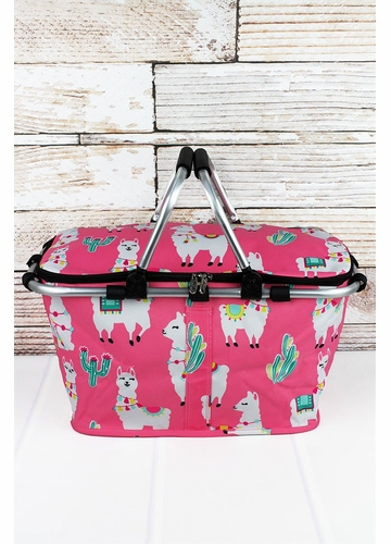 Llovely Llamas Collapsible Insulated Market Basket with Lid