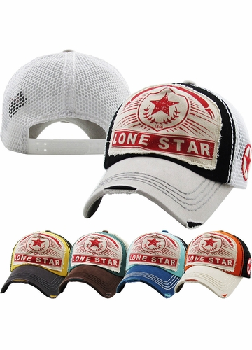 Lone Star Baseball Hat with Mesh Back