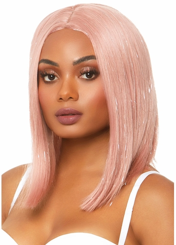Long Bob Wig in Pink with Tinsel