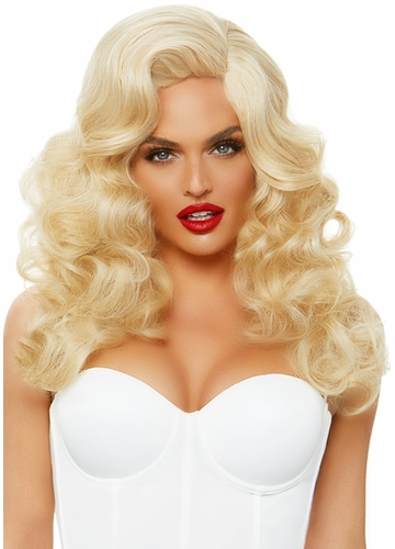 Long Bombshell Curly Wig in Blonde