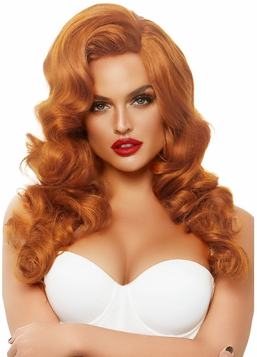 Long Bombshell Curly Wig in Red