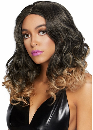 Long Curly Ombre Bob Wig in Blonde