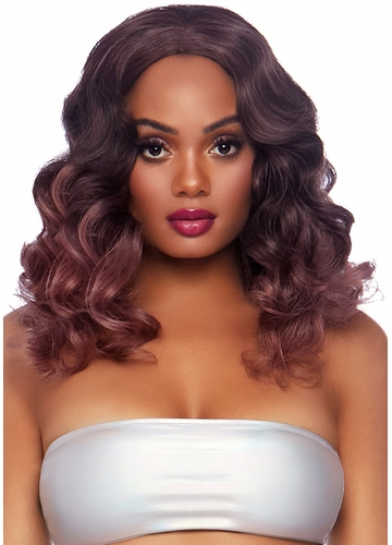 Long Curly Ombre Bob Wig in Mauve