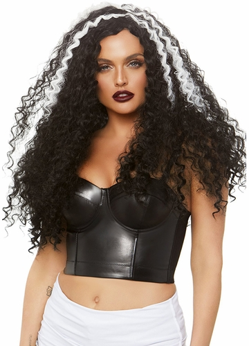 Long Curly Wig in Black with White Streaks