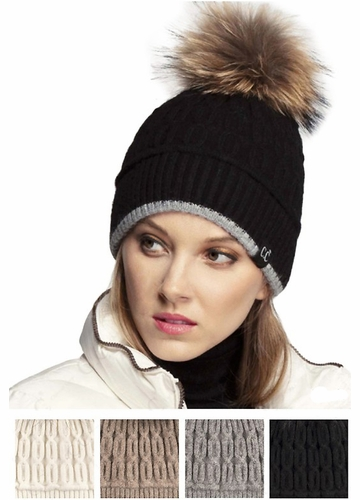 Luxe Angora and Fur Pom CC Beanie Hat