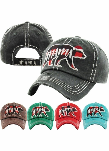 Limited Edition Mama Bear Plaid Holiday Baseball Hat