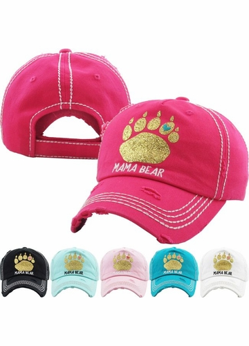 MAMA BEAR Washed Vintage Baseball Cap with Gold Glitter
