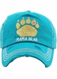 MAMA BEAR Washed Vintage Baseball Cap with Gold Glitter inset 1