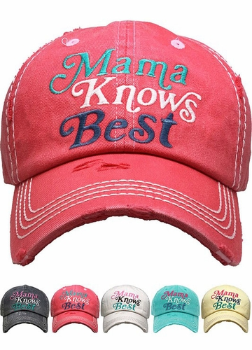 Mama Knows Best Washed Vintage Baseball Cap