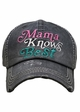 Mama Knows Best Washed Vintage Baseball Cap inset 1