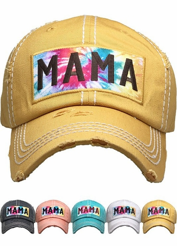 Mama Tie Dye Patch Washed Vintage Baseball Cap