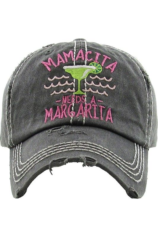 Mamacita Needs A Margarita Washed Vintage Ball Cap