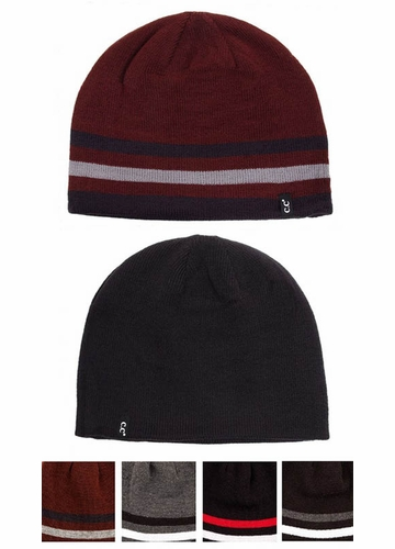 Men's Solid Stripe Reversible CC Beanie Hat