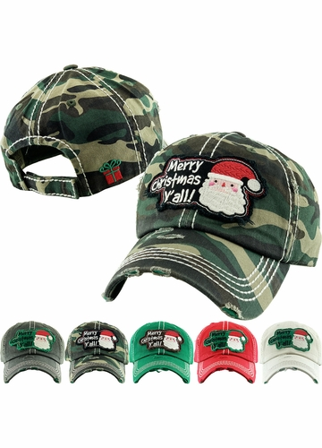 MERRY CHRISTMAS Y'ALL Washed Vintage Ballcap