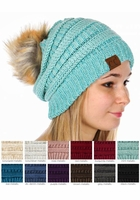 Metallic CC Beanie with Faux Fur Pompom