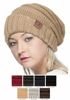 Metallic Color Slouchy CC Beanie Hat