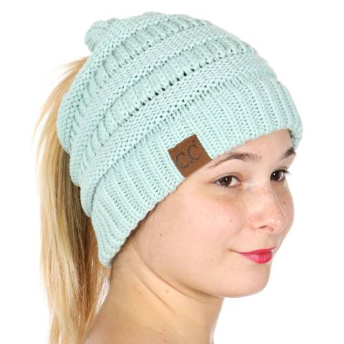 Mint CC Beanie Hat with Open Ponytail 698f79f5c75