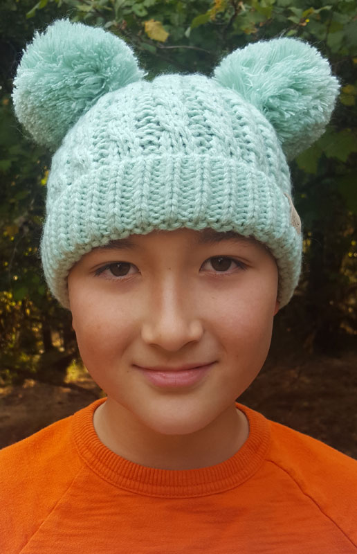 708cf354e2c83 Mint Kids Knit Solid Color CC Beanie Hat with Two Pom Poms
