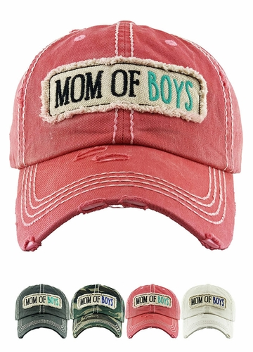 Mom of Boys Washed Vintage Distressed Baseball Cap