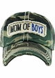 Mom of Boys Washed Vintage Distressed Baseball Cap inset 1