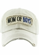 Mom of Boys Washed Vintage Distressed Baseball Cap inset 4
