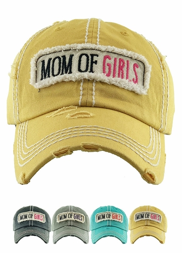 Mom of Girls Washed Vintage Distressed Baseball Cap