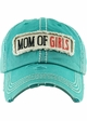 Mom of Girls Washed Vintage Distressed Baseball Cap inset 1