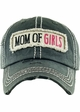 Mom of Girls Washed Vintage Distressed Baseball Cap inset 2