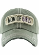 Mom of Girls Washed Vintage Distressed Baseball Cap inset 3