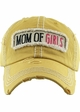 Mom of Girls Washed Vintage Distressed Baseball Cap inset 4