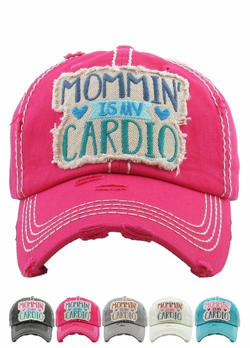 MOMMIN' IS MY CARDIO Vintage Distressed Baseball Cap