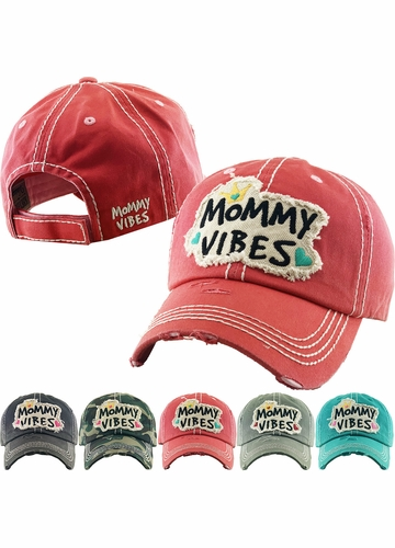 MOMMY VIBES Washed Vintage Ballcap