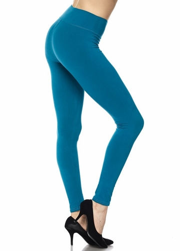 More Solid Color Peach Skin Leggings with 3