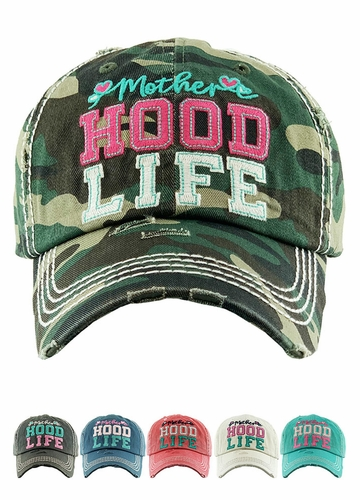 Motherhood Life Washed Vintage Distressed Baseball Cap
