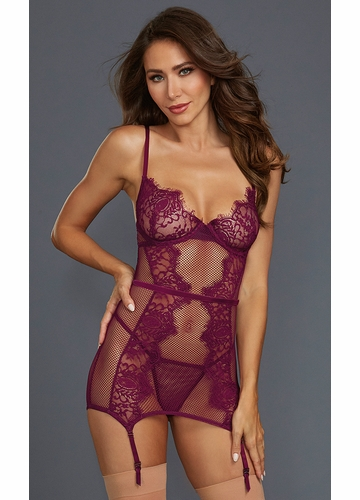 Mulberry Lace Garter Dress with Matching G-String