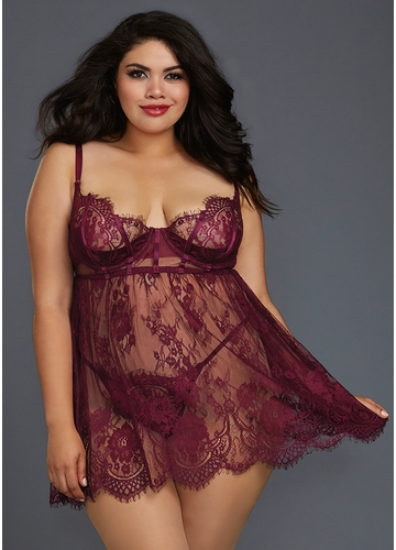 Mulberry Lace Plus Size Babydoll with Scalopped Trim