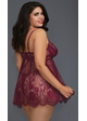 Mulberry Lace Plus Size Babydoll with Scalopped Trim inset 1