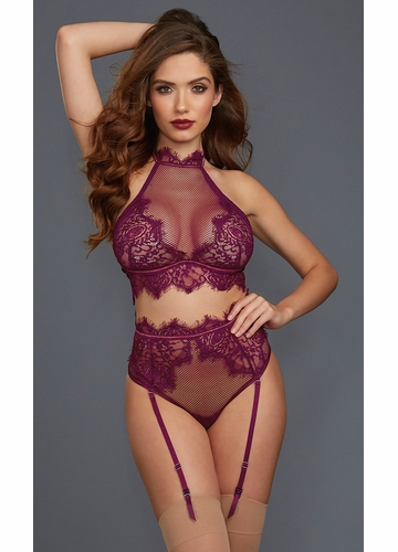 Mulberry Lace Top and Garter Panty