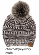 Multi Color CC Beanie Hat with Faux Fur Pom Pom inset 3