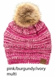 Multi Color CC Beanie Hat with Faux Fur Pom Pom inset 4