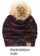 Multi Color CC Beanie Hat with Faux Fur Pom Pom inset 1