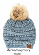 Multi Color CC Beanie Hat with Faux Fur Pom Pom inset 2