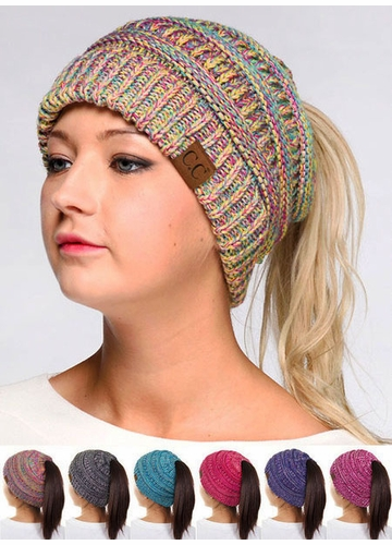 Multi Color CC BeanieTails Open Ponytail Hat