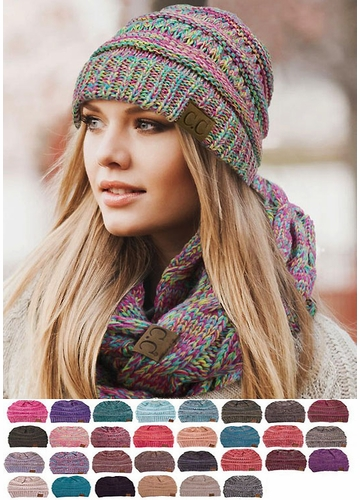 Multi Color Knit CC Beanie Hats