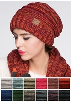 Multi Color Oversized Slouchy CC Beanie Hat
