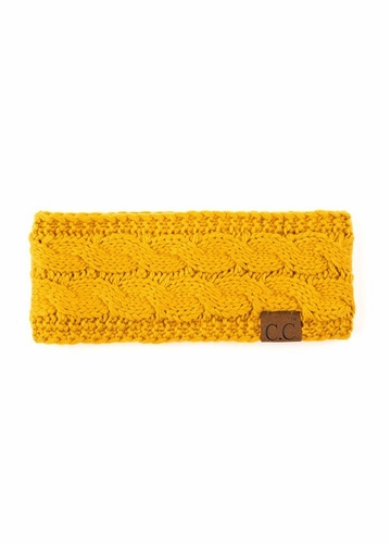 Mustard Cable Knit CC Brand Headband with Plush Lining