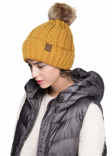 Mustard CC Beanie Hat with Warm Lining and Fur Pom Pom